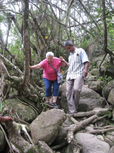My mother hiking to Rio Toa.