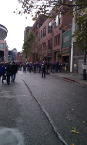 Walking toward the stadium
