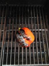 Charred pepper on grill.